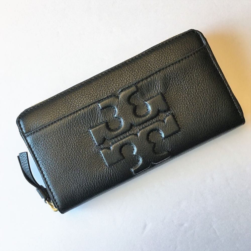 8d5c08b45f19 TORY BURCH Bombe T Zip Continental Wallet ~ Black Pebbled Leather NWT  195   ToryBurch