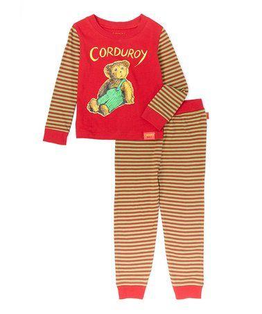 eb1123924 Loving this Red   Brown Corduroy the Bear Pajama Set - Infant ...