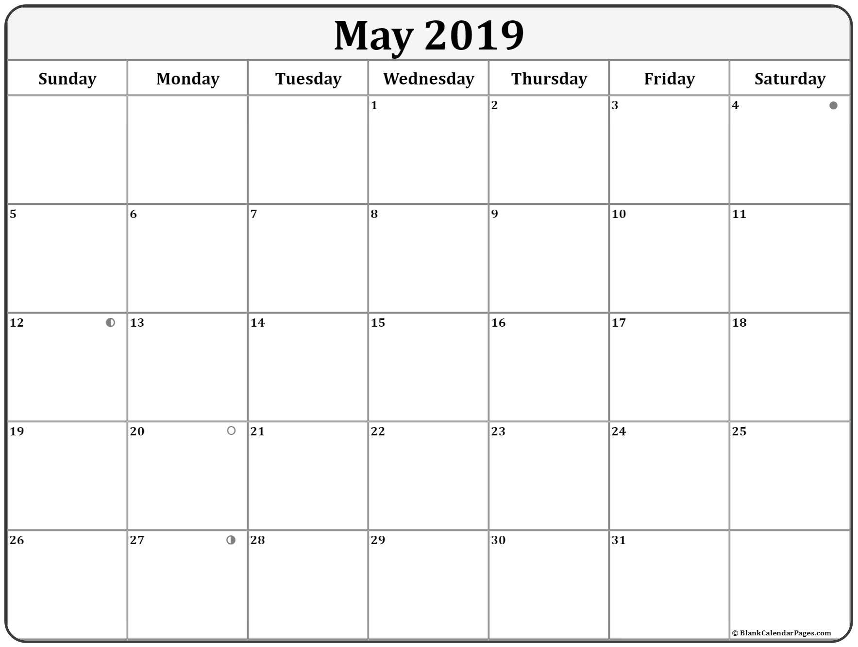 May 2019 Calendar With 4 Simple Moon Phases Moon Phase Calendar