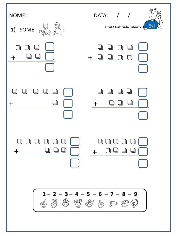 Adição   Matemáticas preescolar   Pinterest   Preescolar