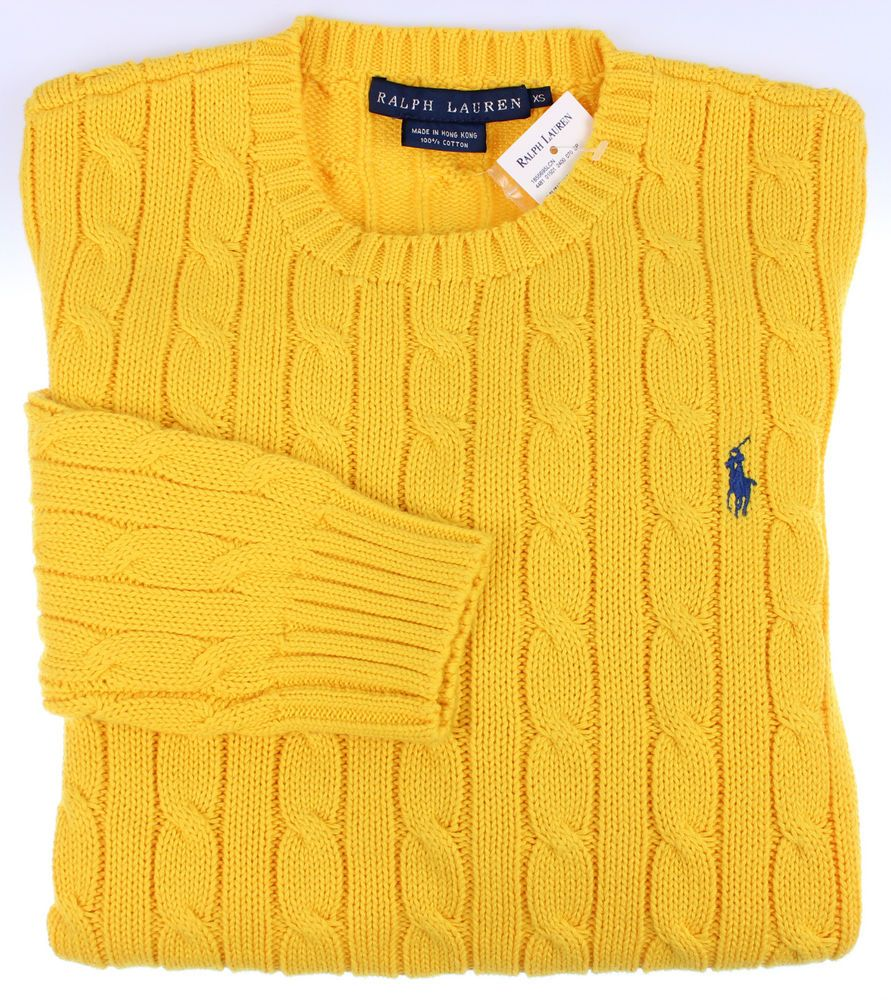 NEW Polo Ralph Lauren Womens Sweater Size XS Cable Crewneck Pullover Yellow  NWT