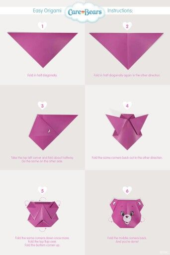 Care Bears Origami Activity Time Pinterest Origami Bear