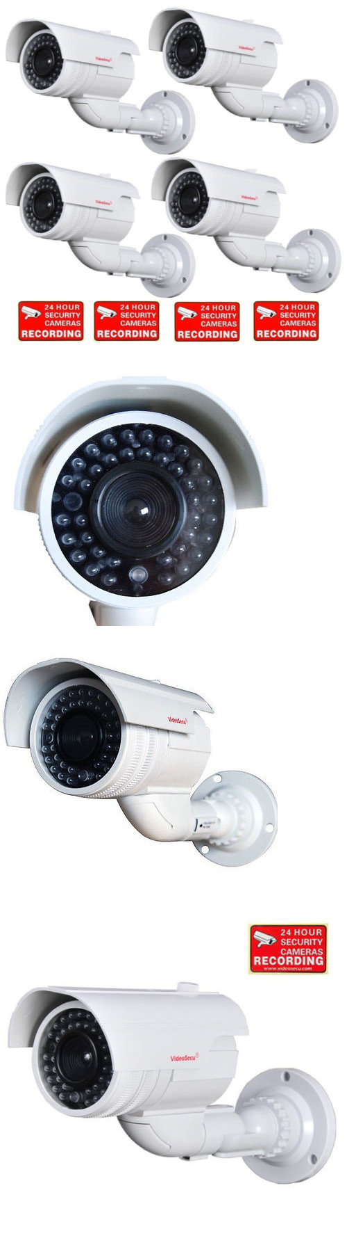 Dummy cameras 4 security camera dummy fake bullet infrared ir led dummy cameras 4 security camera dummy fake bullet infrared ir led blinking light home cctv mozeypictures Images