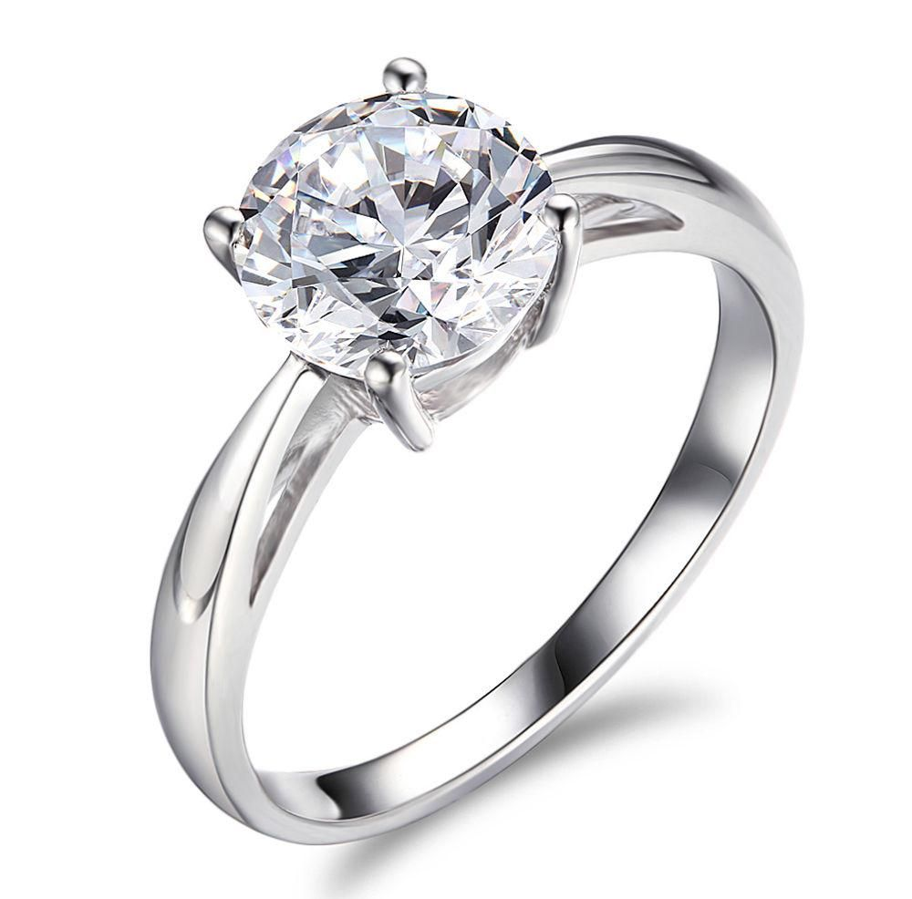 Engagement Ring 2 CT Solitaire Diamond Round Cut D SI VS 14K White Gold 4 Prong1