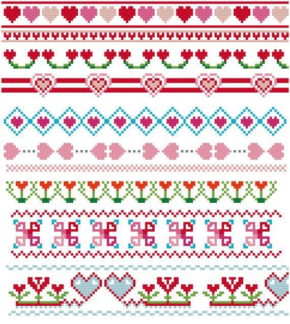 hearts cross stitch borders pdf pattern love theme cross