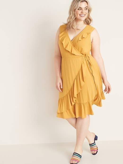 Ruffled Fit & Flare Plus-Size Faux-Wrap Dress | Products in ...