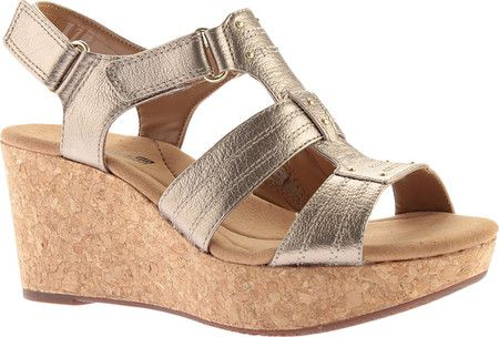 27a618de7de Women s Clarks Annadel Orchid Wedge Slingback - Gold Metal with FREE  Shipping   Exchanges. Put your best foot forward wearing the Clarks Annadel  Orchid ...