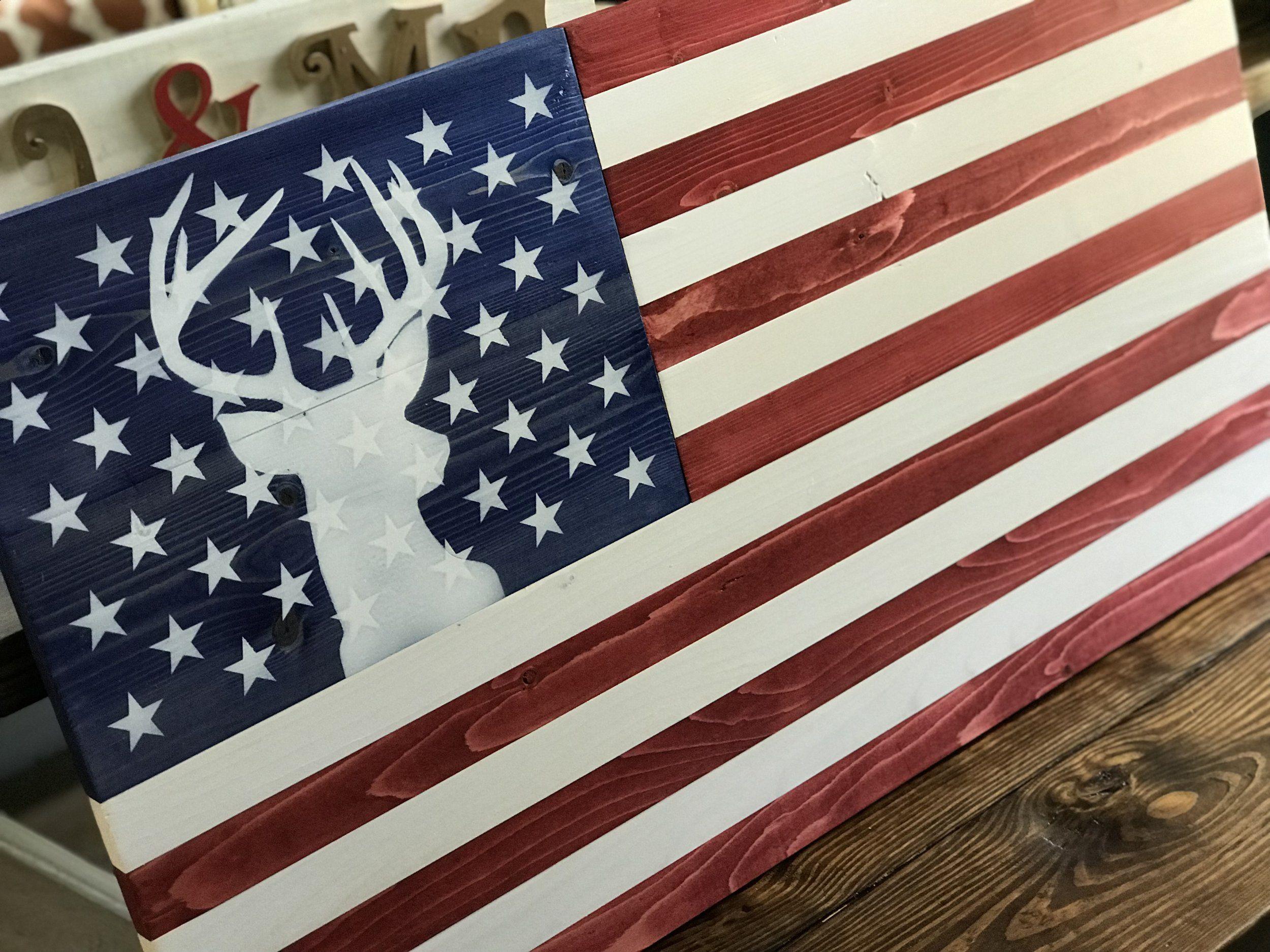 Stag Flag Jpg American Flag Wall Art American Flag Wood Wooden American Flag