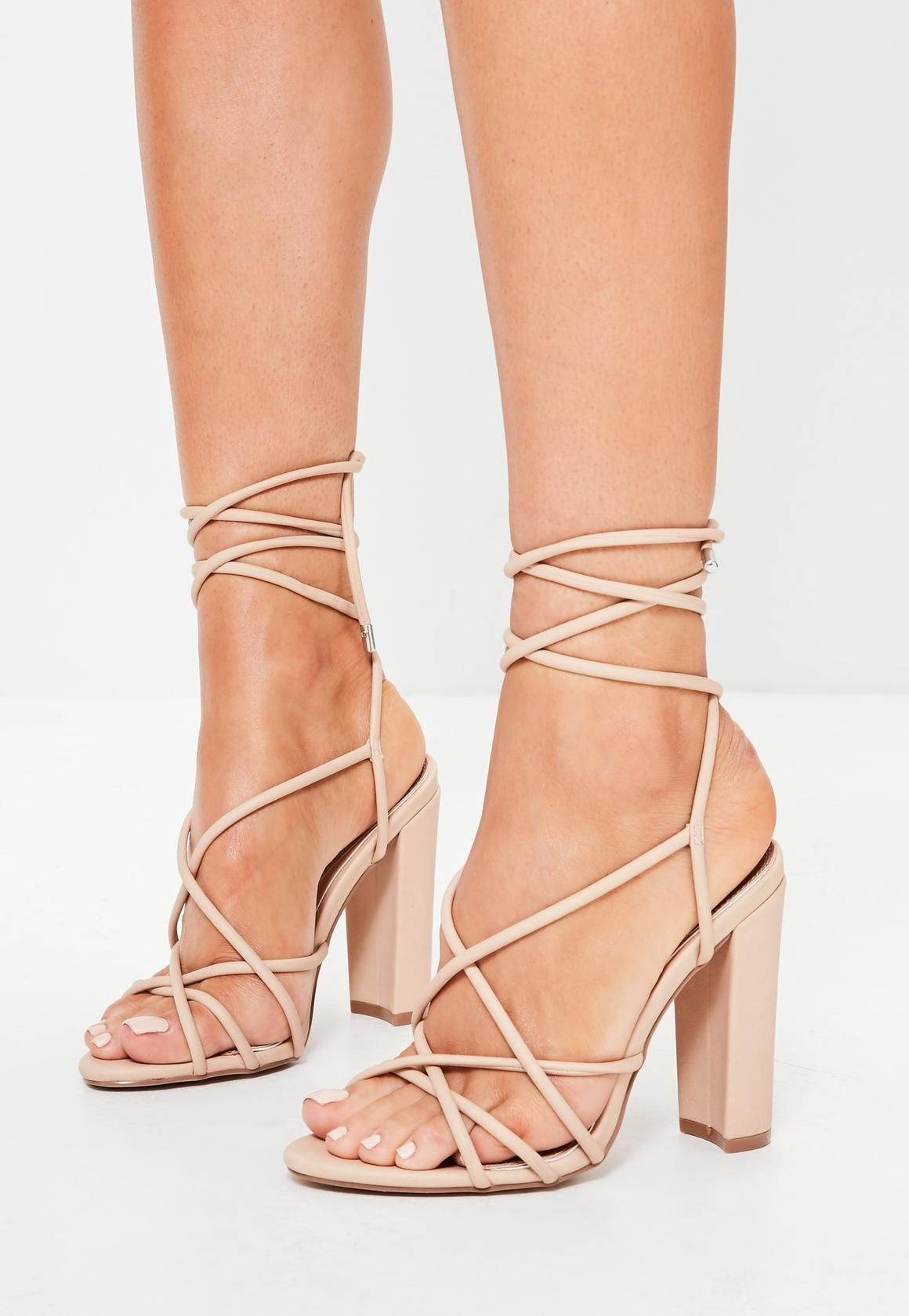 9c6cb7ade1a8 Missguided - Nude Curved Block Heel Multi Strap Sandals