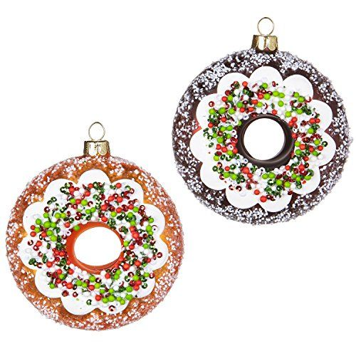 Raz Imports Donut Glass Ornaments Set Of 2 Faux Cake Doughnuts With Icing And Sprinkles 3 5 Each 2018 Santa S Diner Christmas Holiday Collection Donut Ornament Christmas Ornaments Ornament Set