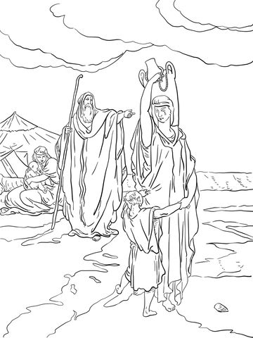 The Expulsion Of Hagar And Ishmael Coloring Page Coloring Pages