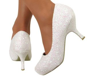 6e8966eb39dfc Womens Sparkly Iridescent white glitter High & low pumps or peep toe ...