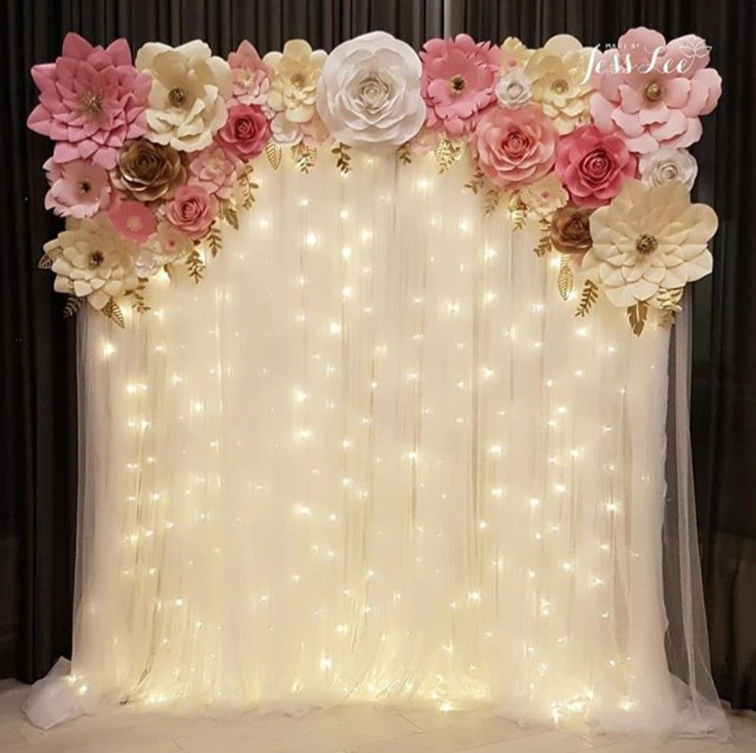 Ava (Pretty in Pink) backdrop with warm fairy lights for a