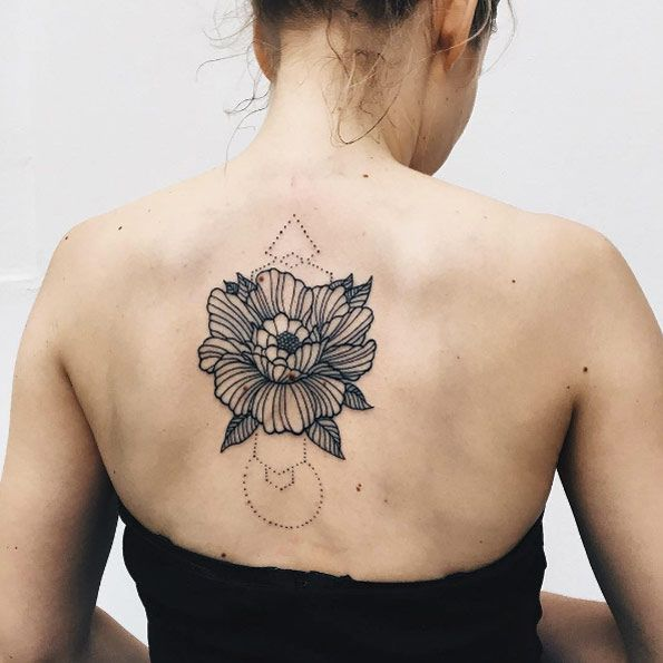 Linework floral tattoo on back by Severov Roma