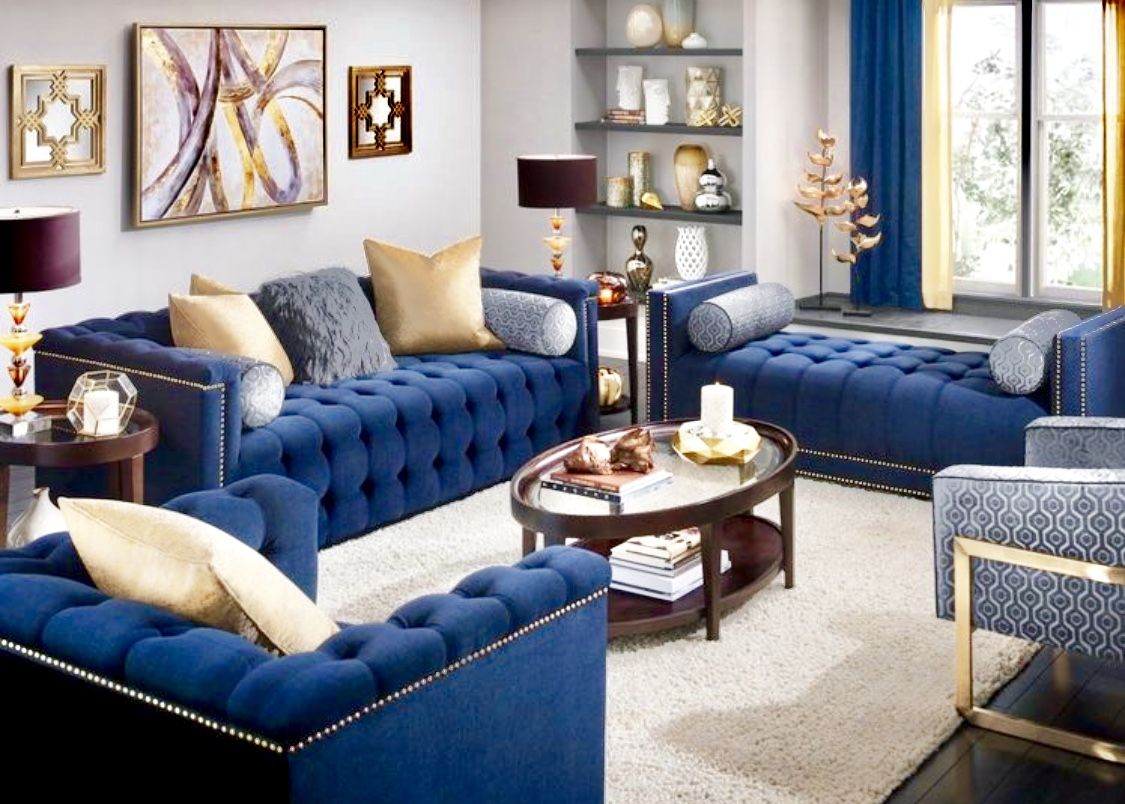 Best Glamour Navy Blue Living Room Decor Blue Velvet Sofa 400 x 300