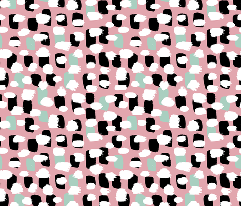 Colorful Fabrics Digitally Printed By Spoonflower Modern Brush Spots Mix Abstract Scandinavian Style Trend Pattern Pink Mint In 2020 Surface Pattern Design Spoonflower Fabric Pattern