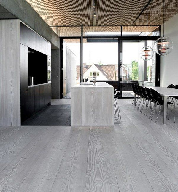 Modern Gray Hardwood Flooring Open Plan Kitchen Dining Room Minimalist Style Interior