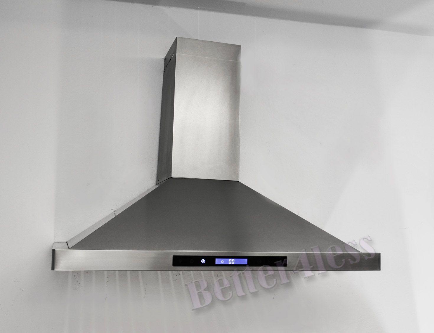 """36"""" Wall Mount Stainless Steel Kitchen Range Hood Vent Fan ..."""