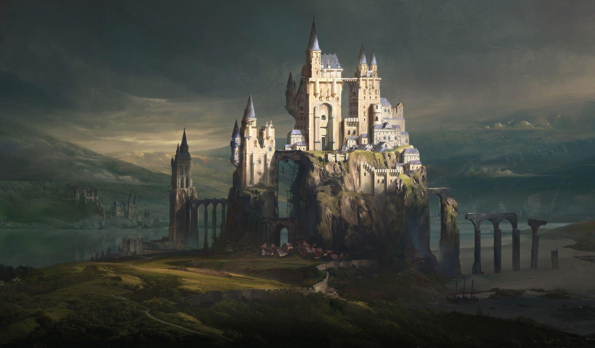 Castle town by jordan grimmer fantasy landscape fantasy