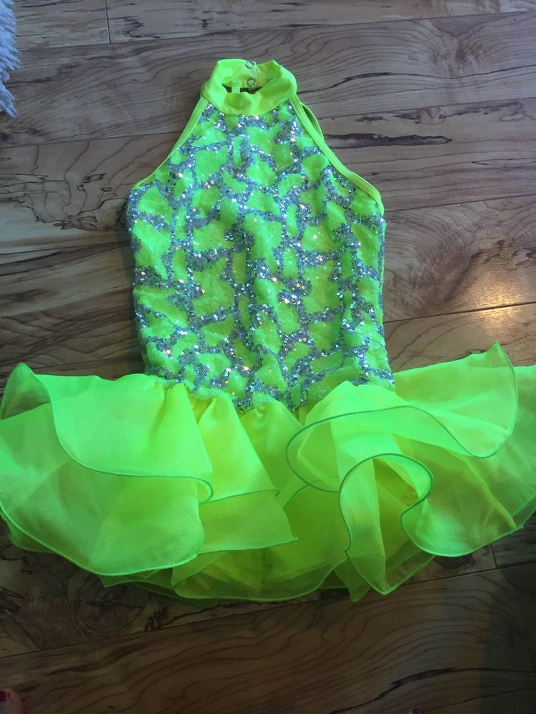 49034c619 Weissman Dance Costume Size MC Neon Yellow green And Silver  fashion ...