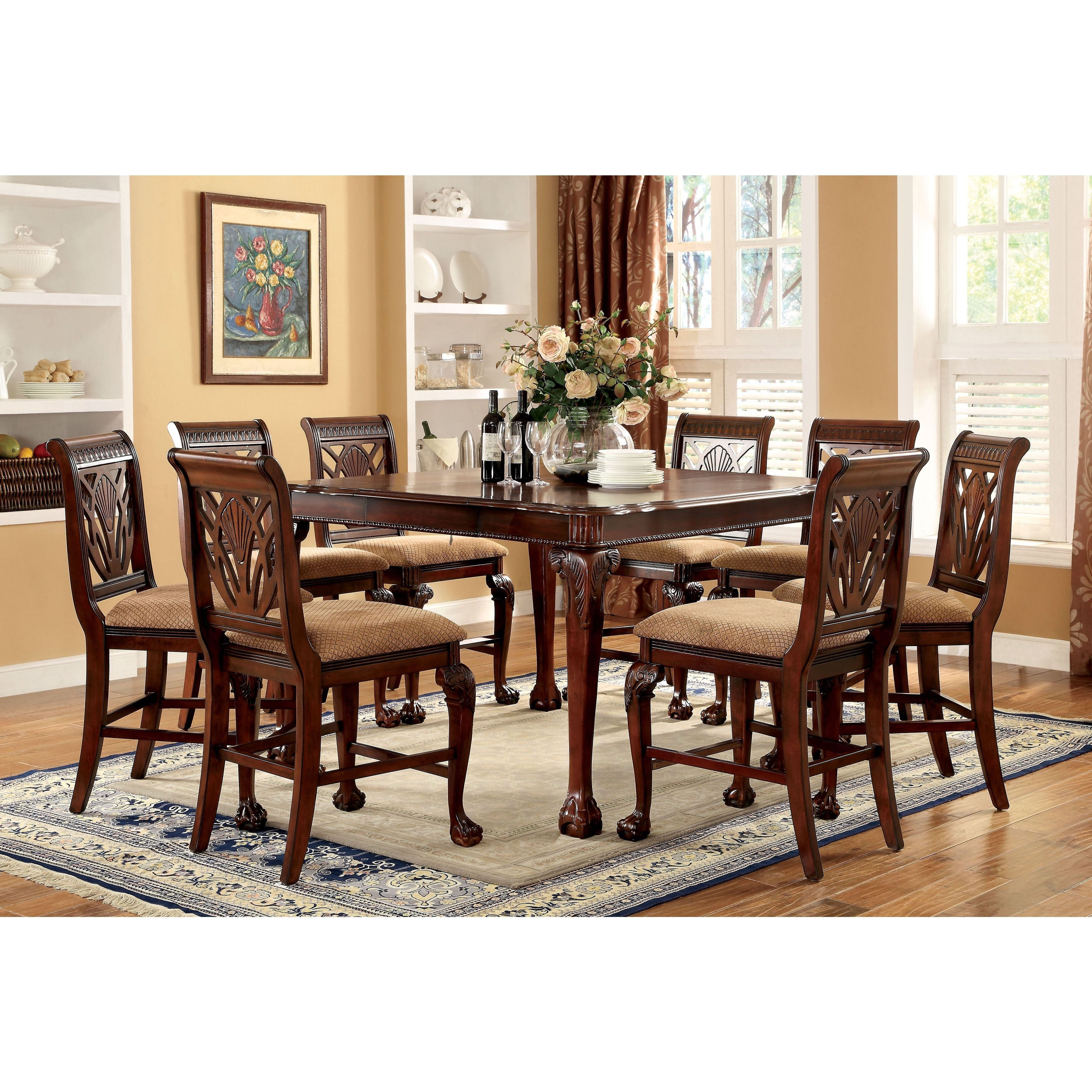 Furniture Of America Ranfort 9 Piece Cherry Counter Height Dining Set  (Cherry), Brown, Size 9 Piece Sets