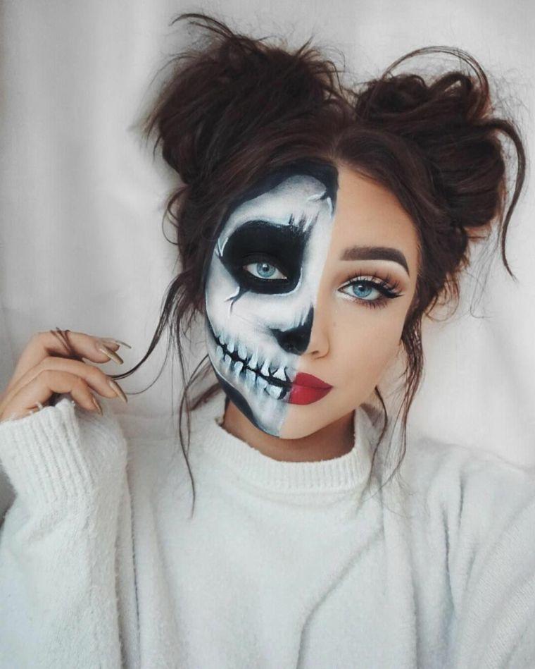 b169eb56abc1 Trucchi semplici per Halloween, ragazza truccata metà faccia con disegno di  scheletro