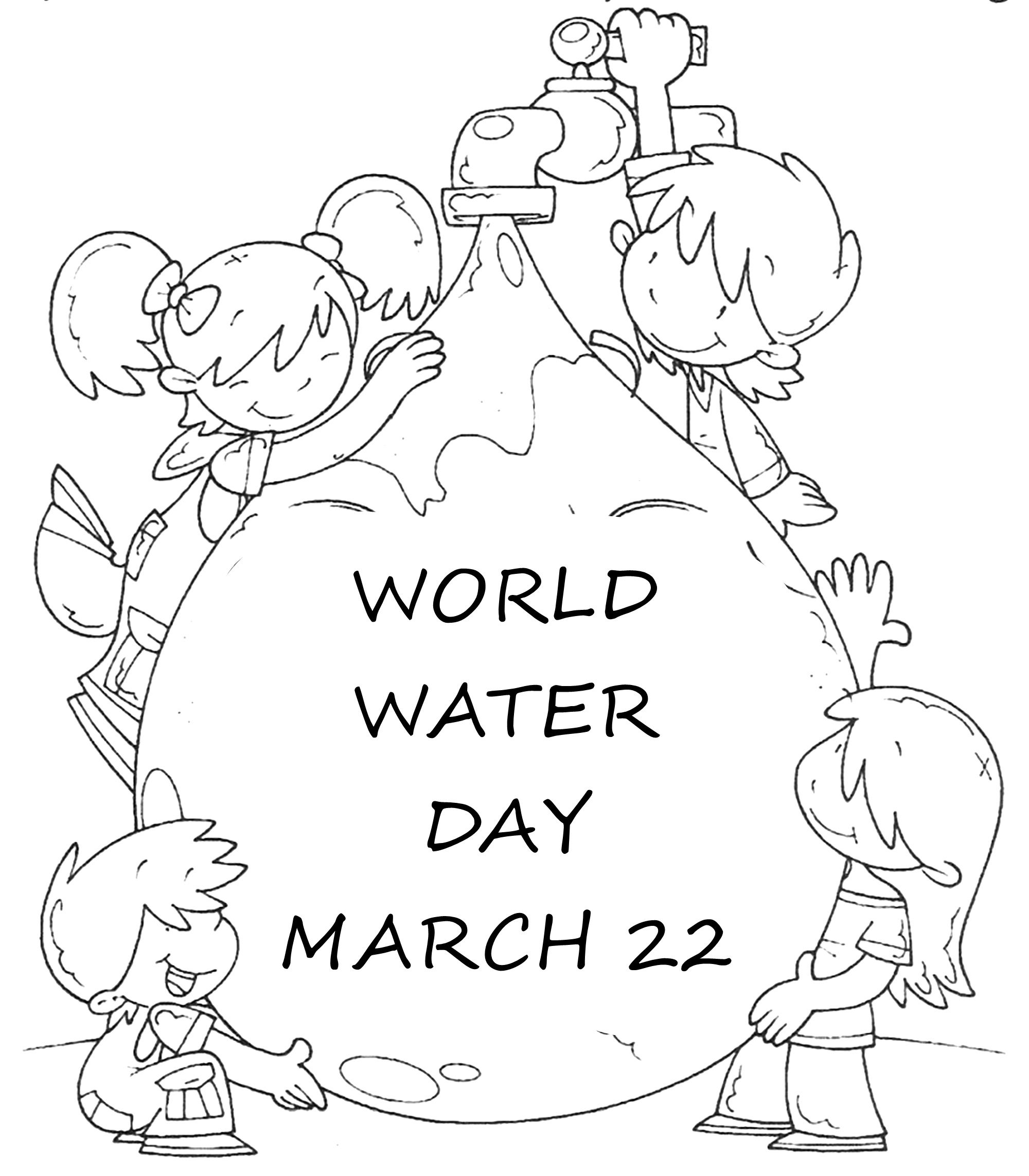 Environmental coloring activities - World Water Day Coloring Page Activity