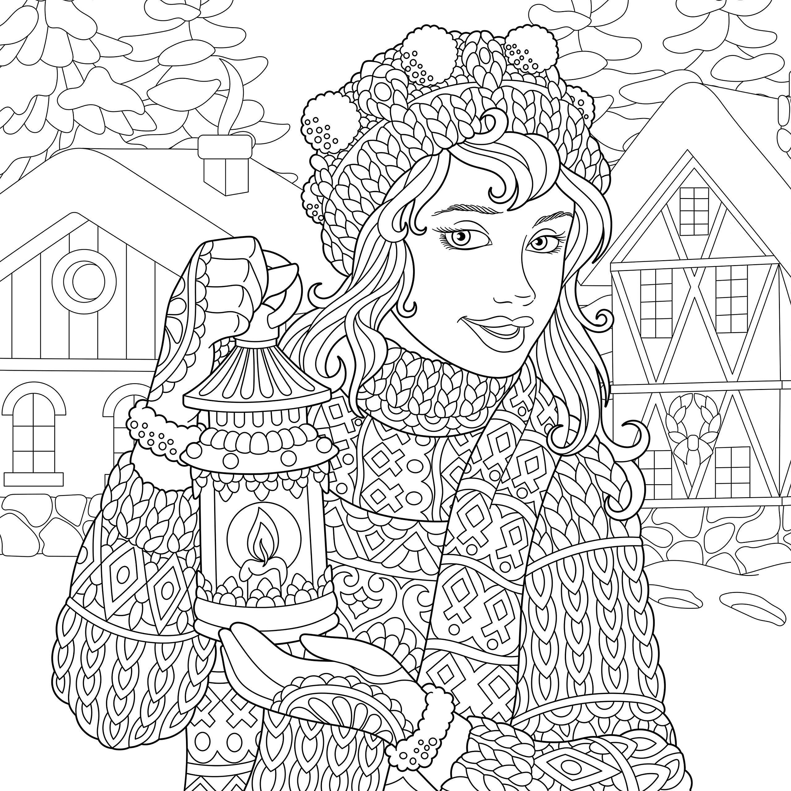 Снегурочка - Новый год   Раскраски мандала, Раскраски ...