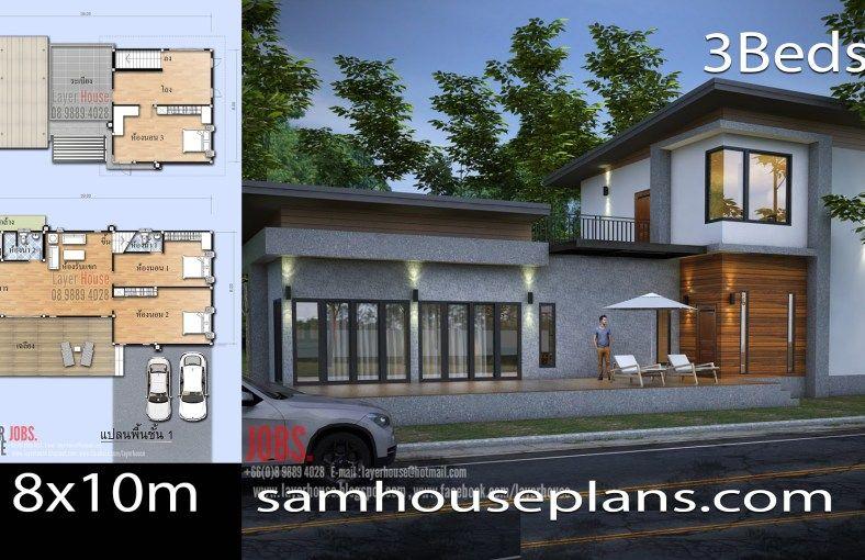 House Plans Idea 18x10m With 3 Bedrooms House Plans 2 Storey House Design Architecture House