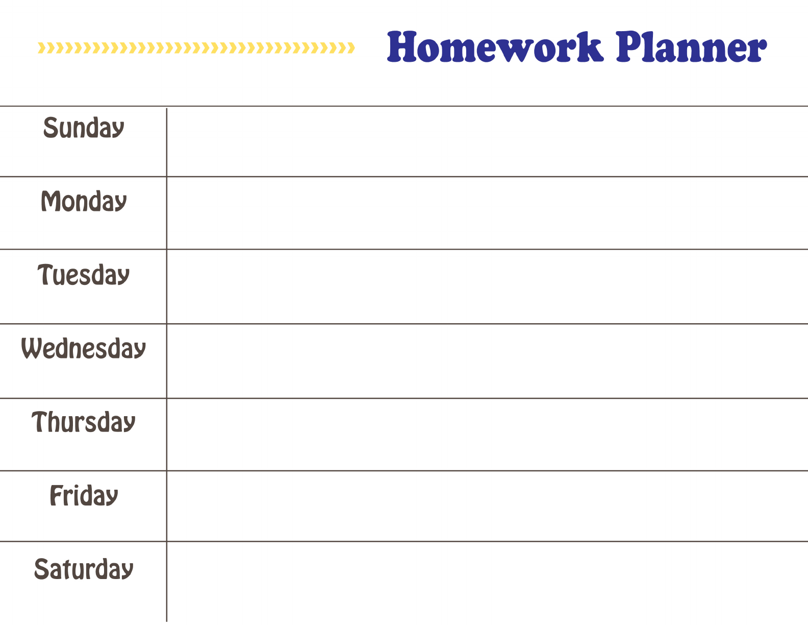 homework planner printable