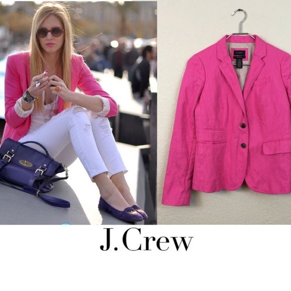 J crew schoolboy blazer J crew pink school boy blazer worn only once excellent condition no damages size 00 $179 rayon and polyester J. Crew Jackets & Coats Blazers