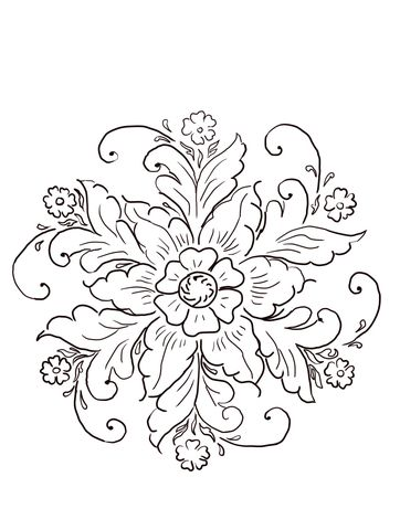 Norwegian Rosemaling Coloring Page From Norway Category Select