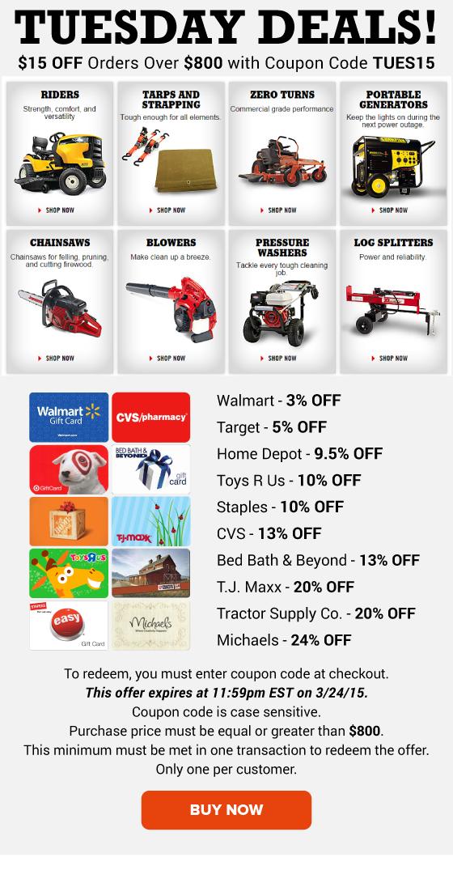 Tuesday Deals: Walmart 3% OFF, Toys R Us 10% OFF, CVS 13% OFF ...