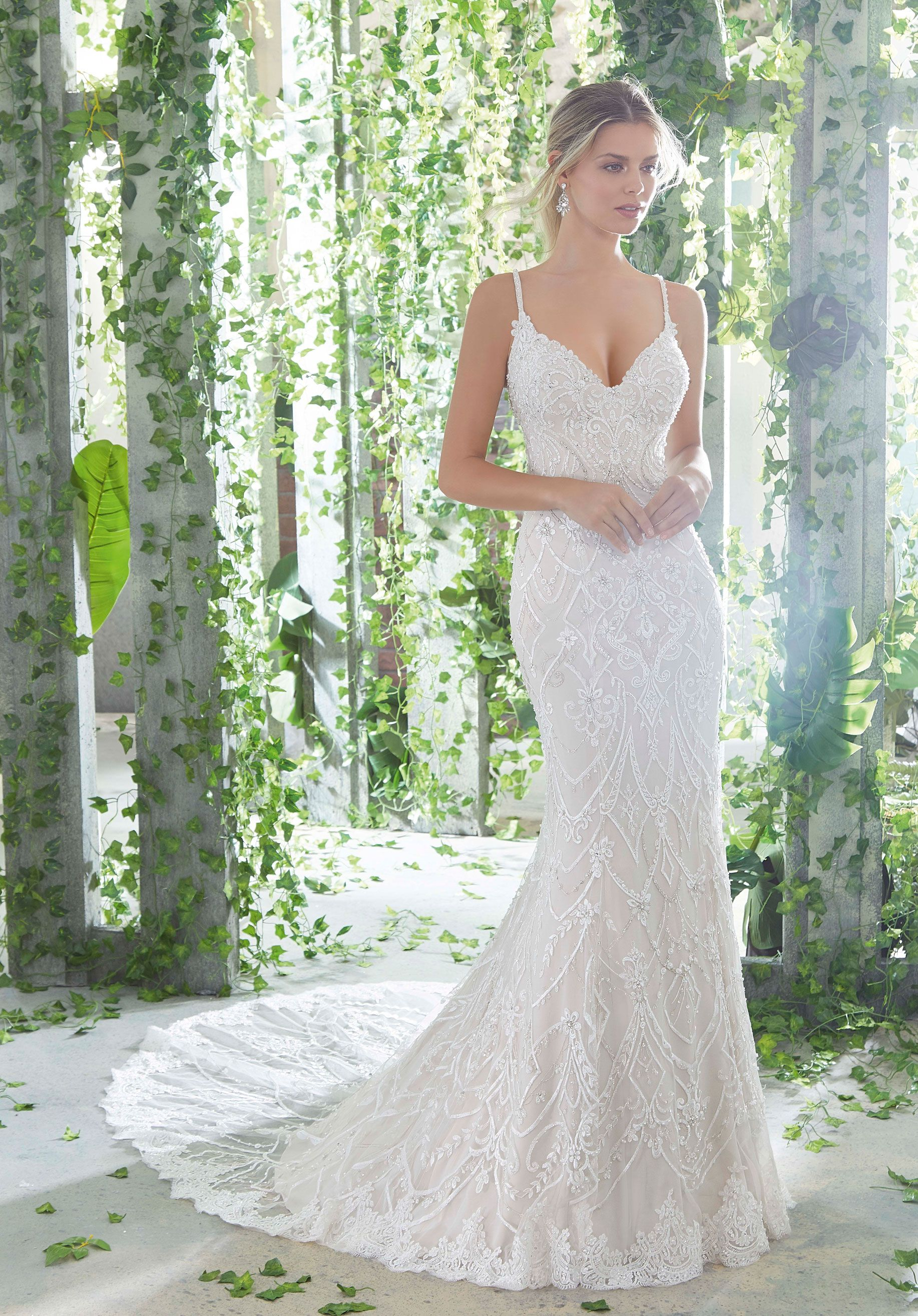 Morilee Madeline Gardner Phaedra Style 1724 Allover Crystal Beaded Embroidery And Straps Sheath Wedding Dress Lace Wedding Dresses Beaded Wedding Dresses [ 2630 x 1834 Pixel ]