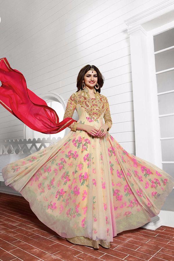 8888a467f Om Silk Mills Craftsvilla Special Designer Prachii Desai Pink Anarkali  Heavy Suit