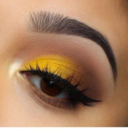 Yellow eye makeup with black line – StepUpLadies.net – Simple eye makeup