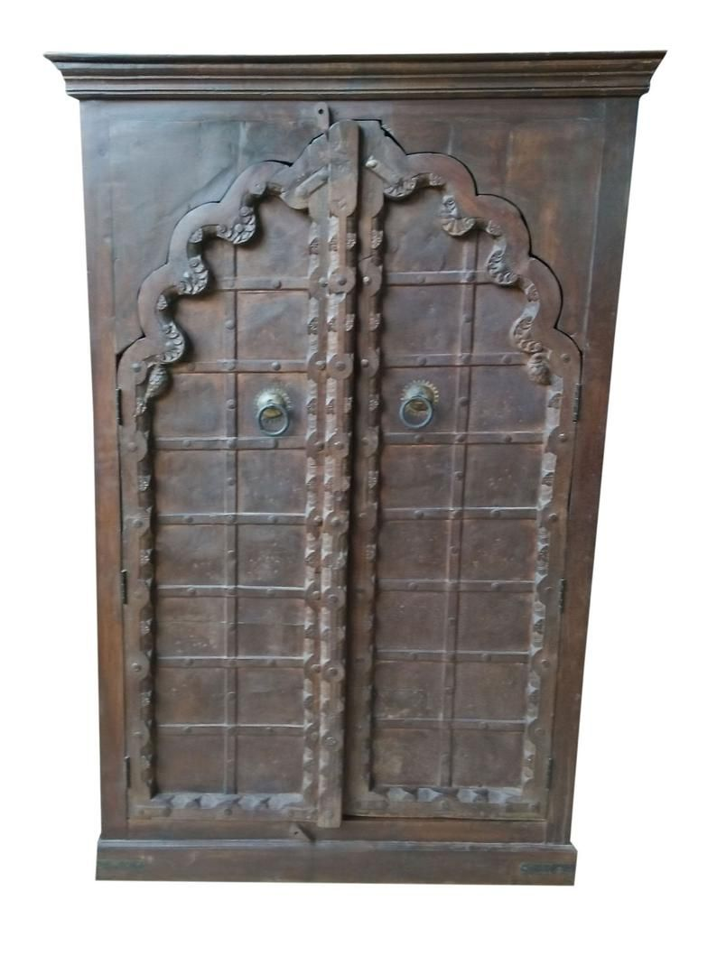 Antique Indian ARMOIRE Arch Door Hand Carved Wooden ...
