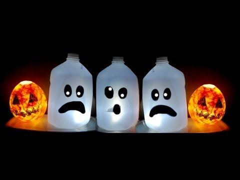 ♥ KIDS HALLOWEEN CRAFT  CUTE Ghost Milk Jug  Easy Halloween - halloween milk jug decorations