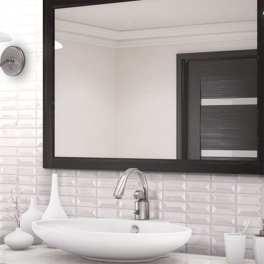 Shop allen + roth Piano White Glass Mosaic Scale Indoor/Outdoor Wall ...