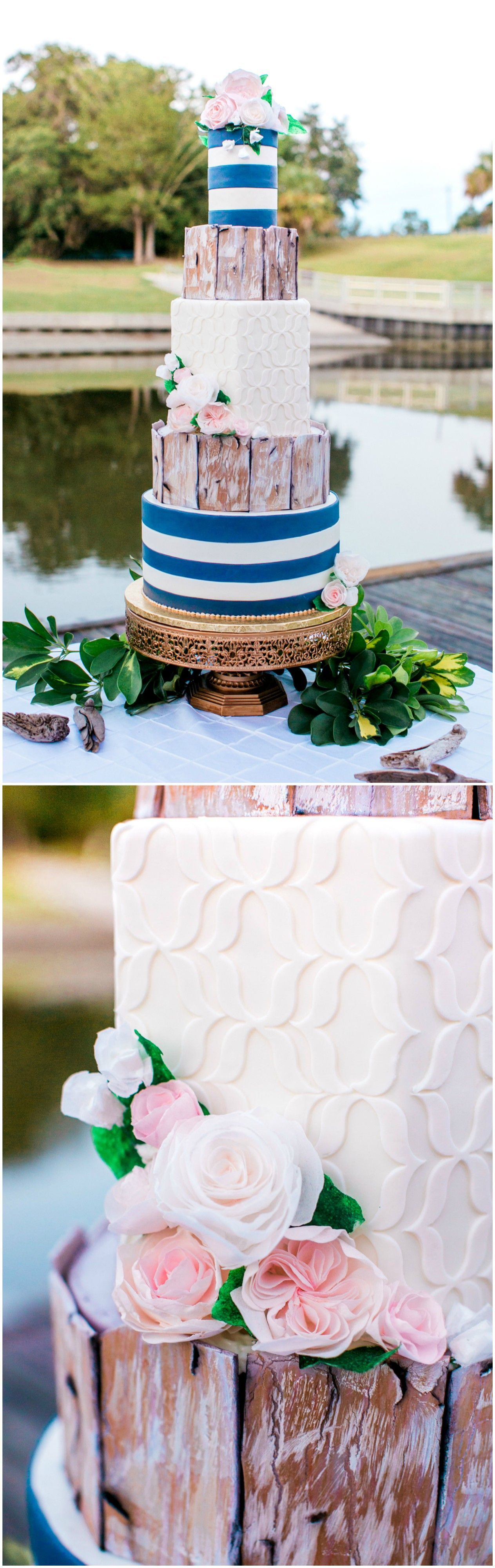 Tall wedding cake, unique cake design, blue and white stripes, pink ...