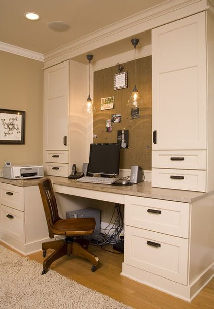 While This Home Office Was Built Into An Old Guest Room, Many Houzz Users  Saved It As An Idea For A Great Kitchen Desk. The Built In Shelving And  Limestone ...