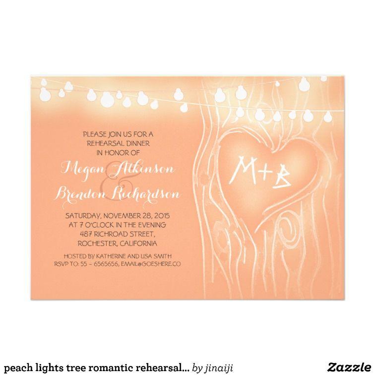 peach lights tree romantic rehearsal dinner custom announcement
