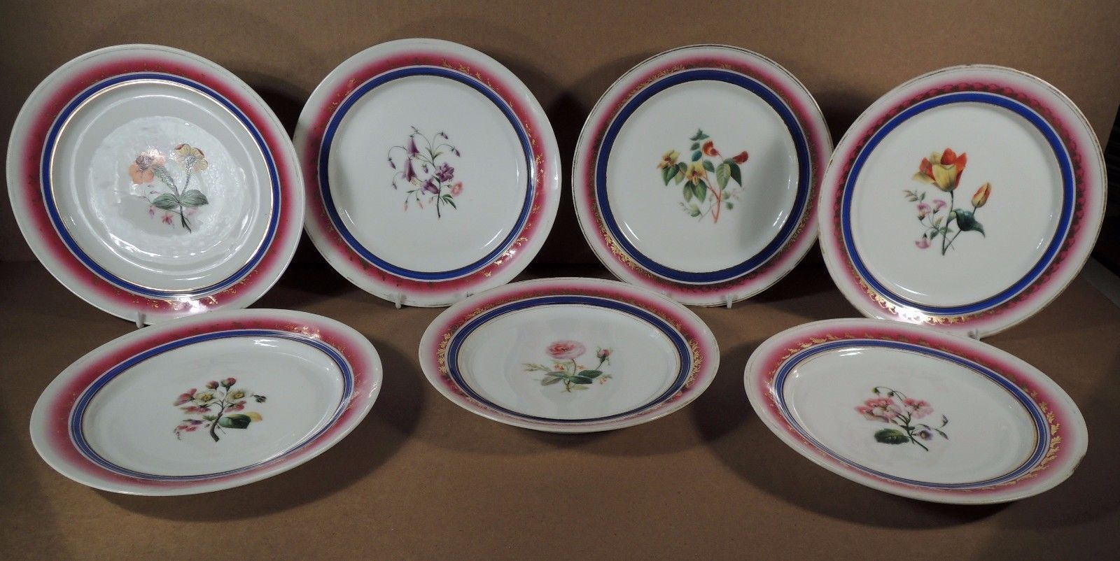 """#Antiques #Gifts 7 LARGE ANTIQUE FRENCH OLD PARIS PORCELAIN DESSERT OR LUNCHEON PLATES 8 ¼"""" #Collectors"""