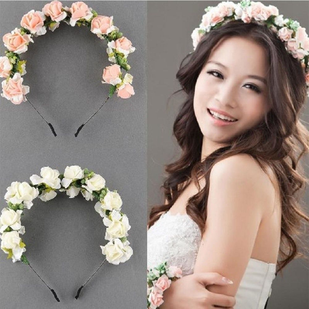 beautiful wedding party prom flower garland bride headband hairband