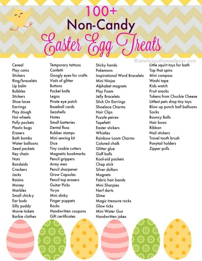 Over 100 non candy easter egg treats and items free printable 100 non candy easter egg treats free printable at sewlicioushomedecor negle Choice Image