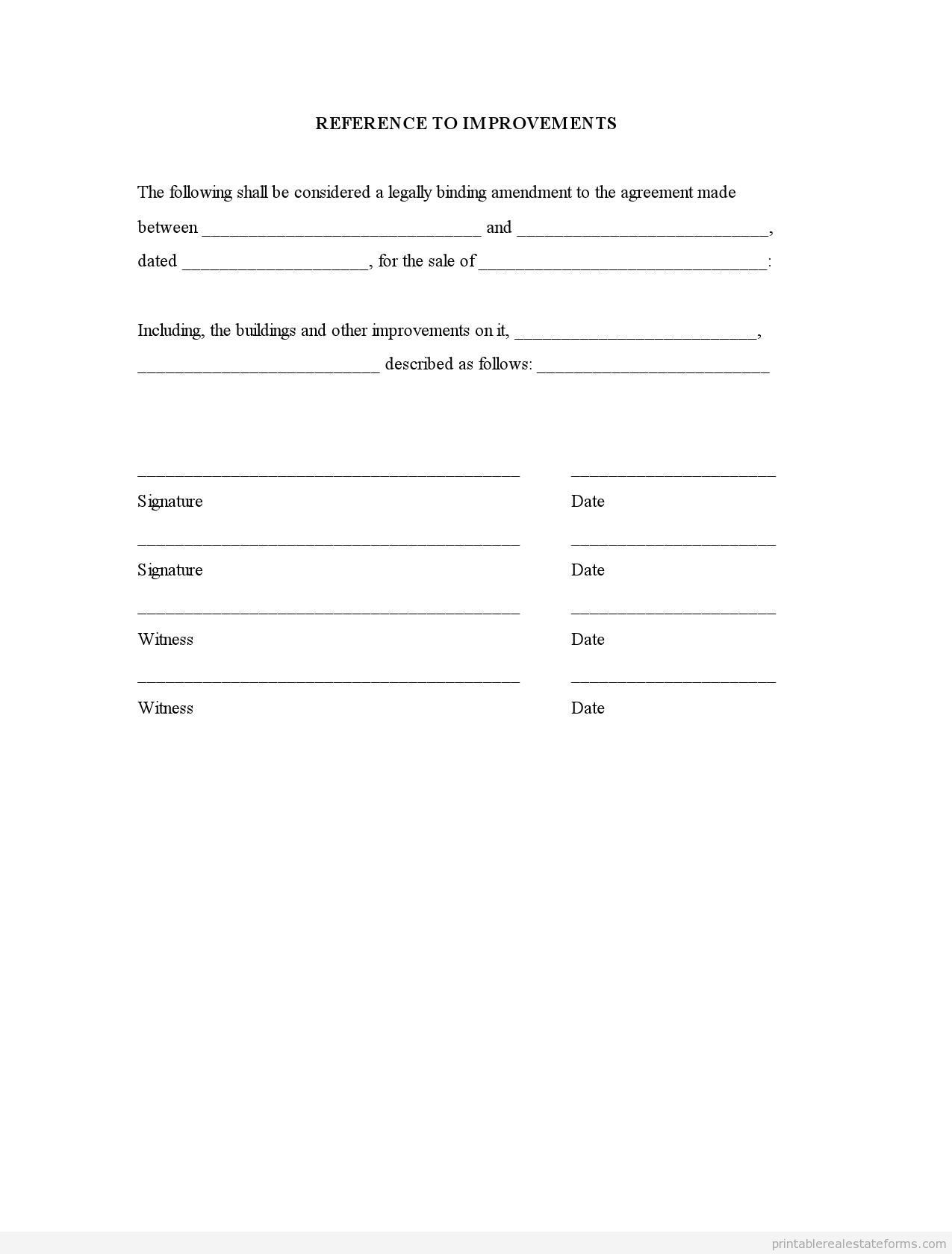 Printable Reference To Improvements Template Sample Forms Printable  Reference To Improvements Template 2015