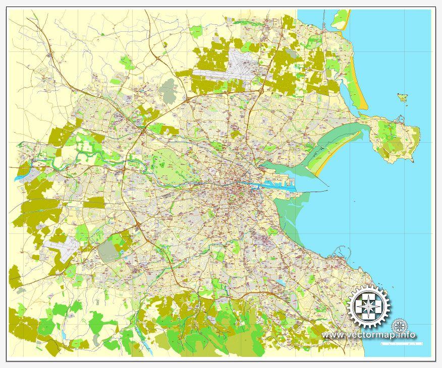 Pdf Map Of Ireland.Dublin Map Vector Ireland Printable City Plan Map V 2 Full Editable