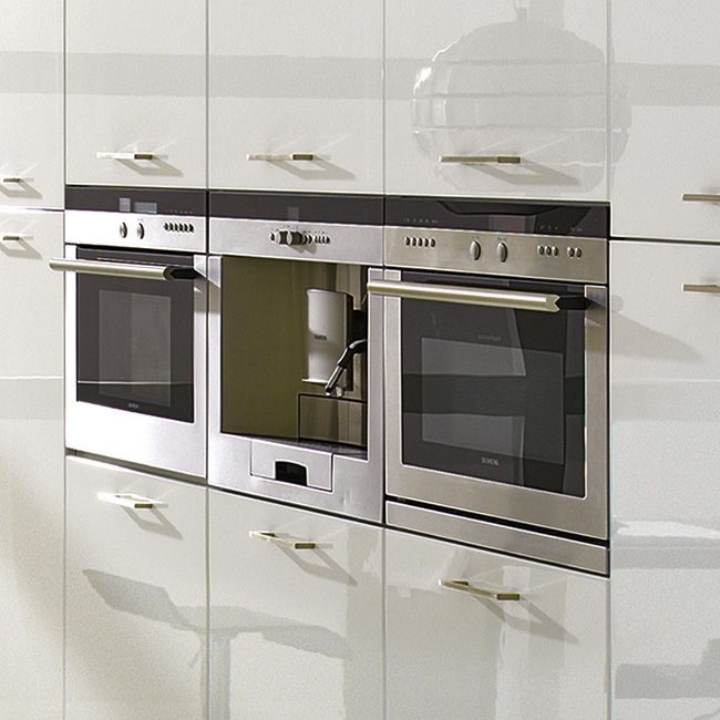 Eye Level Built In Ovens And Coffee Maker With White High Gloss