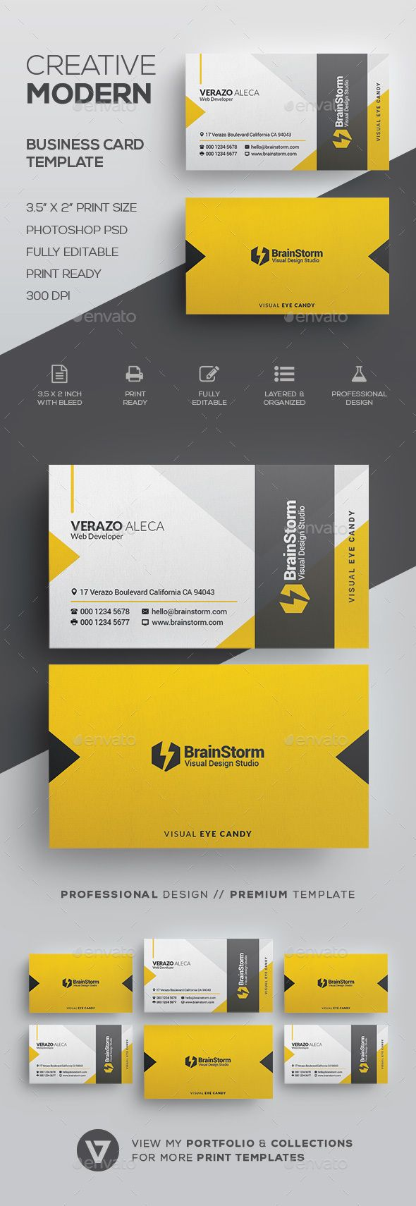 Creative modern business card template cartes de visita visita e creative modern business card template reheart Images