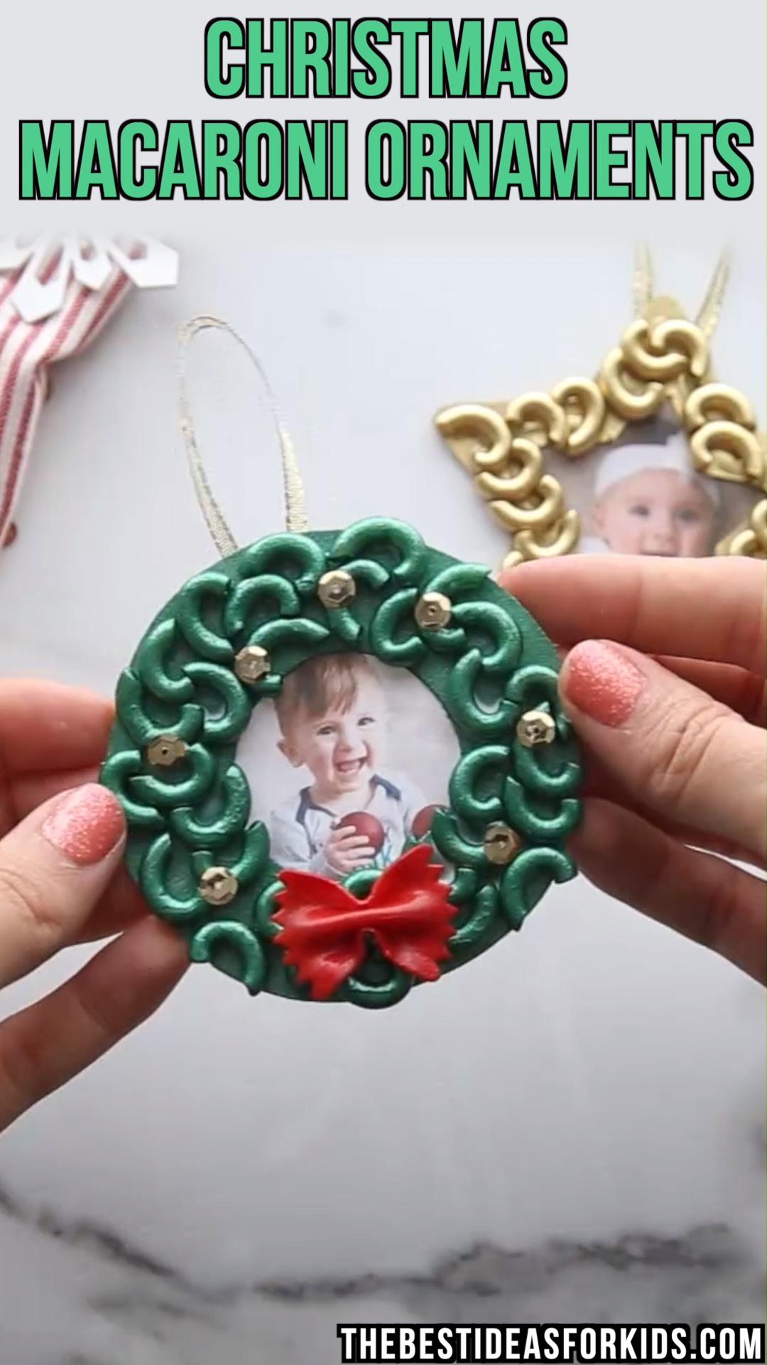 Photo of MACARONI CHRISTMAS ORNAMENTS 🎄